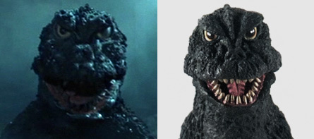 Head comparison between Movie and X-Plus Godzilla 1966.