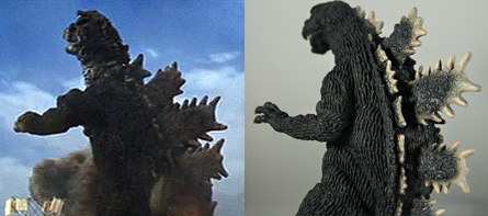 Comparison of Godzilla's dorsal spines from the movie.
