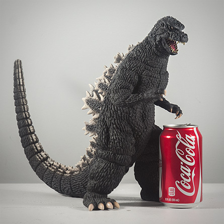 X-Plus Godzilla 1984 Size Comparison with Soda Can. Photo Copyright, John Stanowski.