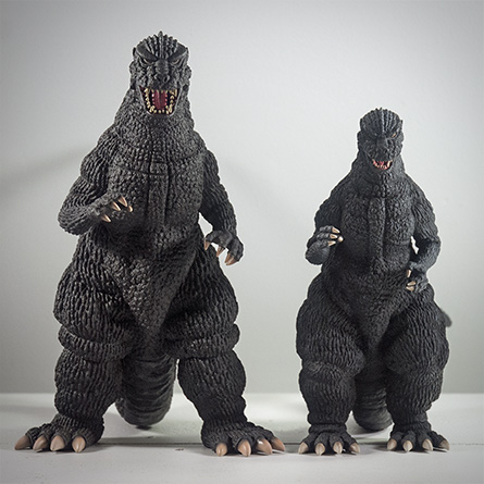 X-Plus Godzilla 1984 Size Comparison with 25cm counterpart. Photo Copyright, John Stanowski.