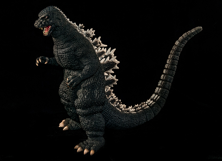 X-Plus Toho 30cm Series Godzilla 1984 vinyl figure against black.