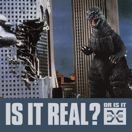 X-Plus 29cm Godzilla 1984 composited into a movie still. Photo copyright, John Stanowski.