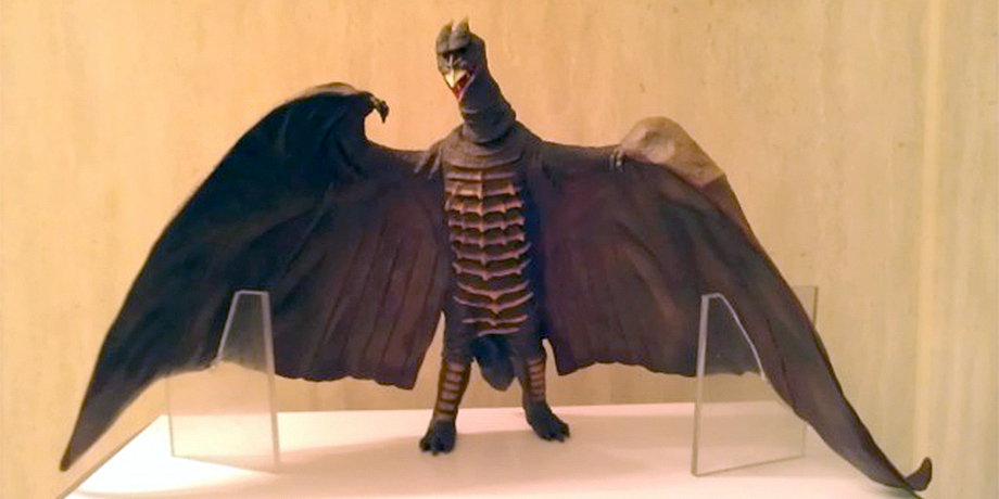 Homemade plexiglass stands help keep this X-Plus Rodan 1956 in an upright position.