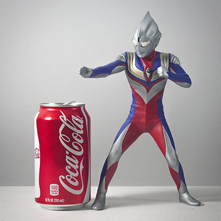 X-Plus Ultraman Tiga Size Comparison with Aluminum Can. Photo copyright, John Stanowski.