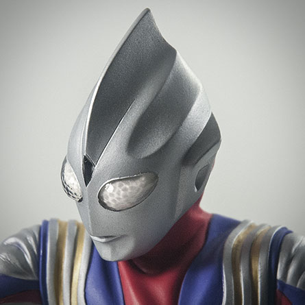 X-Plus Ultraman Tiga head close-up. Photo copyright, John Stanowski.