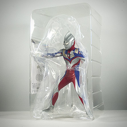 X-Plus Ultraman Tiga packaging shell. Photo copyright, John Stanowski.