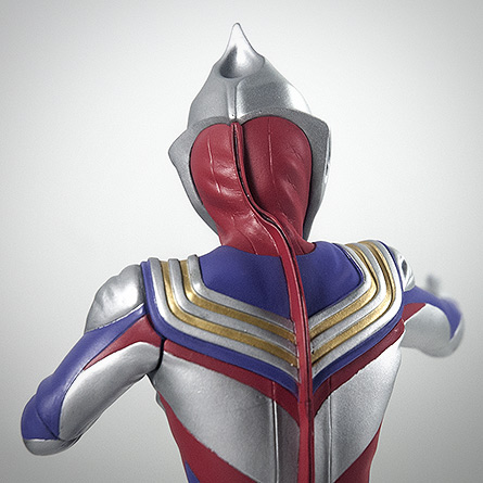 X-Plus Ultraman Tiga upper back close-up. Photo copyright, John Stanowski.