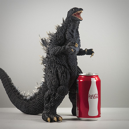X-Plus 30cm Godzilla 2003 size comparison with aluminum can. Photo copyright, John Stanowski.