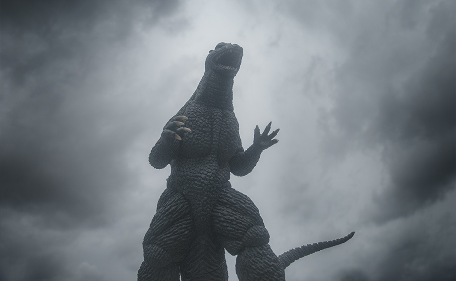X-Plus エクスプラス 30cm Godzilla 2004 Vinyl Figure against stormy sky. Photo copyright, John Stanowski.