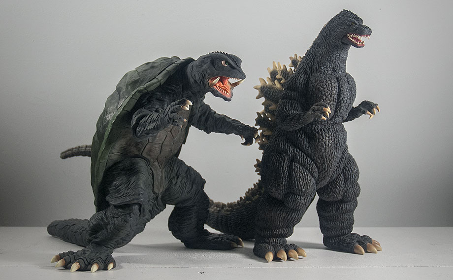 X-Plus Gamera 1995 Size Comparison with Godzilla 1989. Photo copyright, John Stanowski.