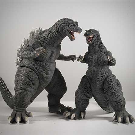 X-Plus / Plex Godzilla 30cm and 25cm vinyl figure size comparison.