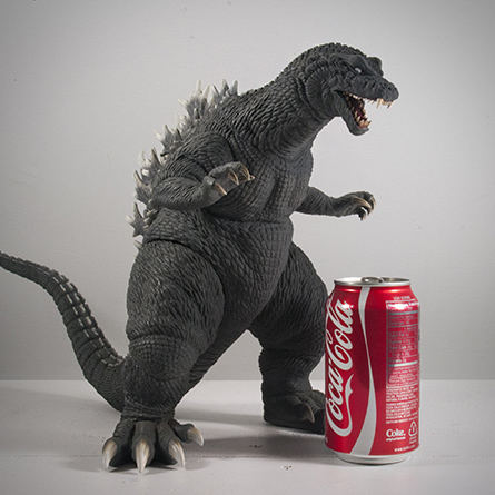 X-Plus / Plex 30cm Godzilla 2001 size comparison with aluminum can.