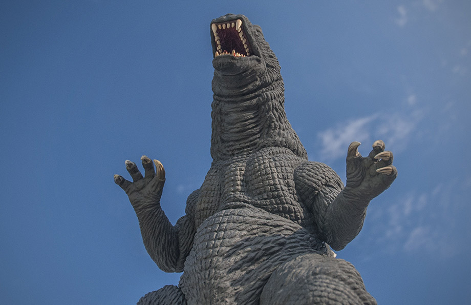 X-Plus / Plex 30cm Godzilla Vinyl Figure against Sky.