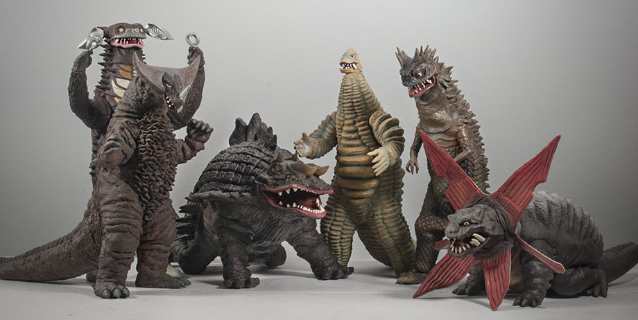X-Plus Skydon with a variety of other Ultraman kaiju vinyl figures.