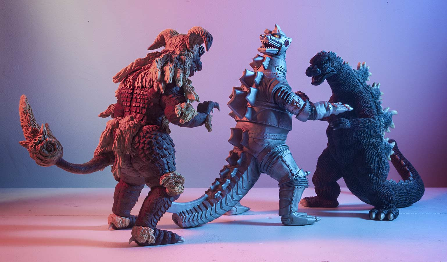 X-Plus King Caesar, Mechagodzilla and Godzilla.