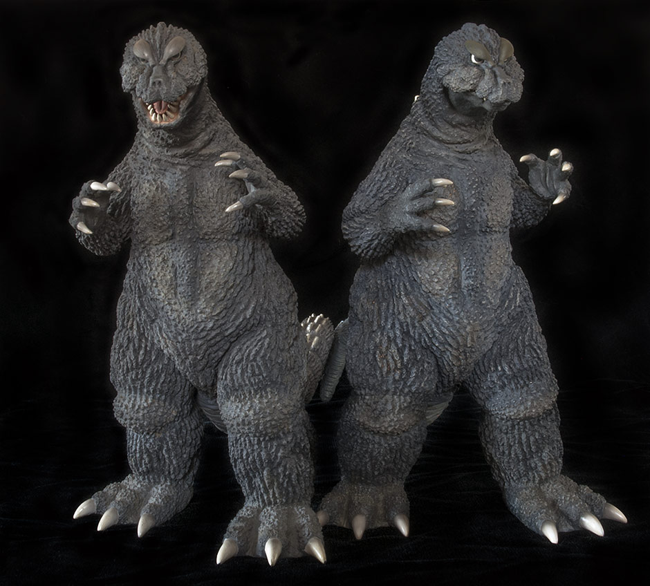 X-Plus Godzilla 1964 Standard and Reissue versions side by side.