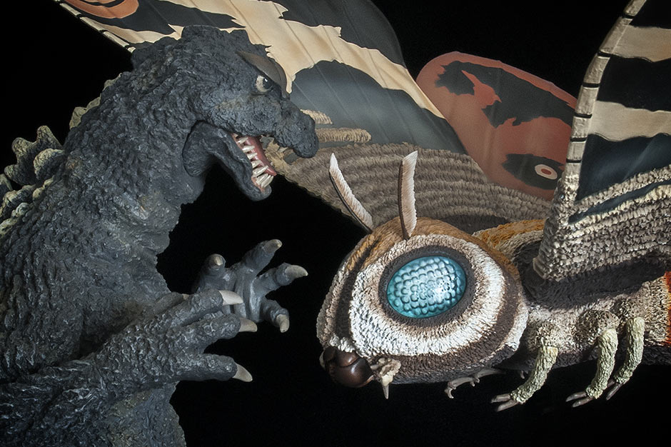 X-Plus Godzilla 1964 vinyl figure with Mothra Imago.