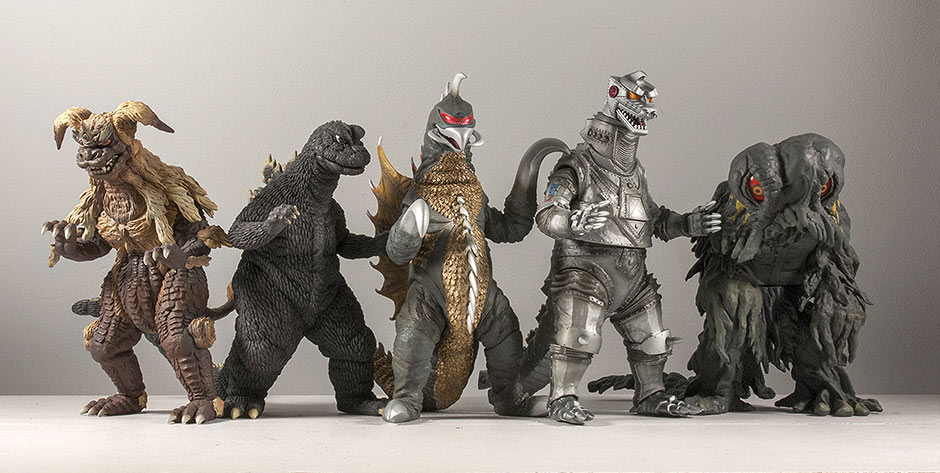 X-Plus Gigan with a variety of other Large Monster Series figures.