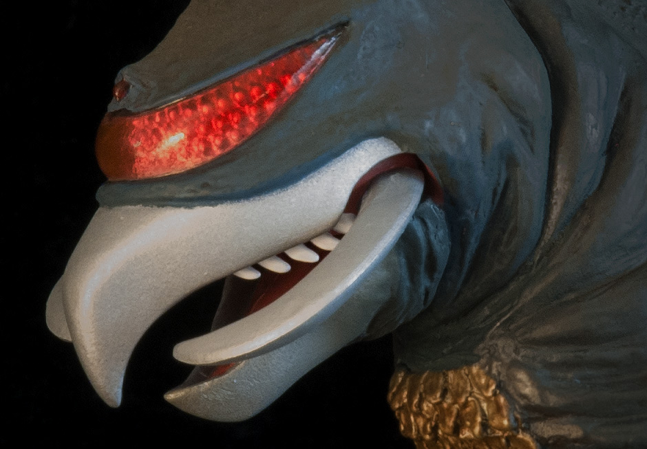Extreme close-up of visor and teeth.