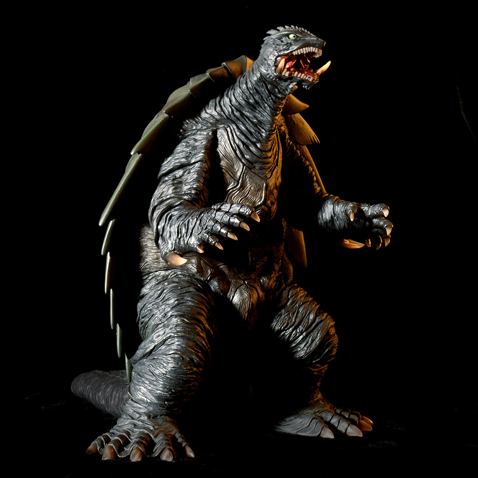 Photoshop embellished photo of X-Plus Gamera 1999 vinyl figure.