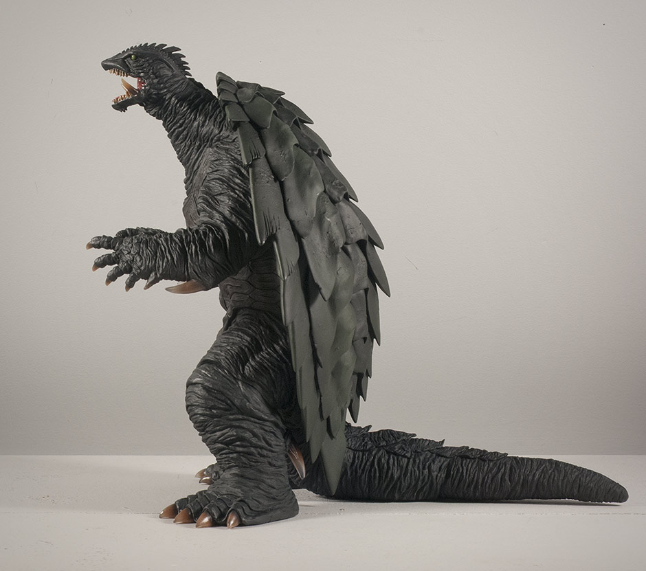 Side view of the Gamera 1999 vinyl figure.