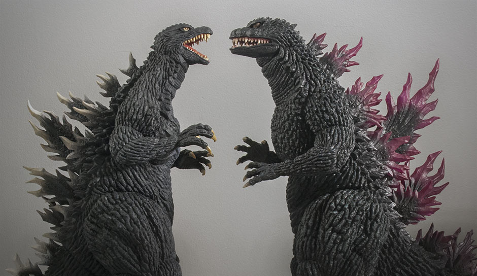 Godzilla 2003 and 1999 face off.