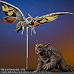 X-Plus Large Monster Series Mothra 2001 and Baragon 2001 vinyl figure set.