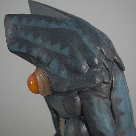 Close-up of paint applications on the head.