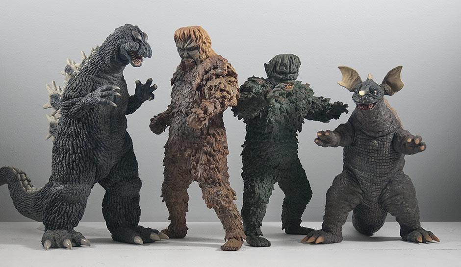X-Plus Sanda and Gaira size comparison with 30cm Godzilla 1964 and 25cm Baragon 1965.