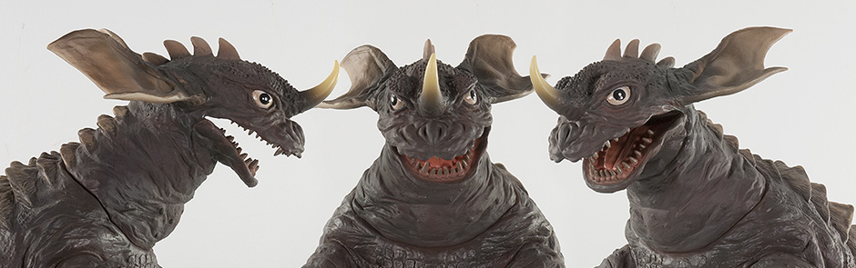 Close-up Headshots of X-Plus 30cm WF Baragon Vinyl Figure.