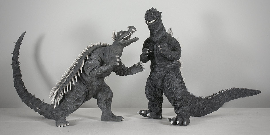 X-Plus Godzilla 1955 Vinyl Size Comparison with Anguirus 1955.