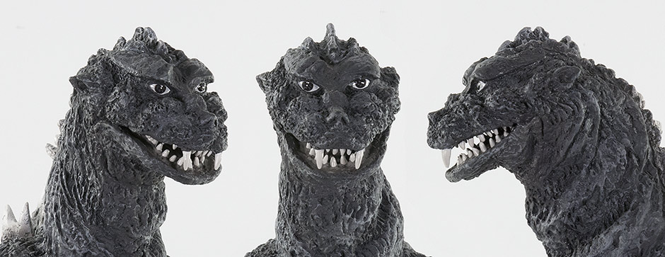 Close-up views of the Godzilla 1955 head sculpt.