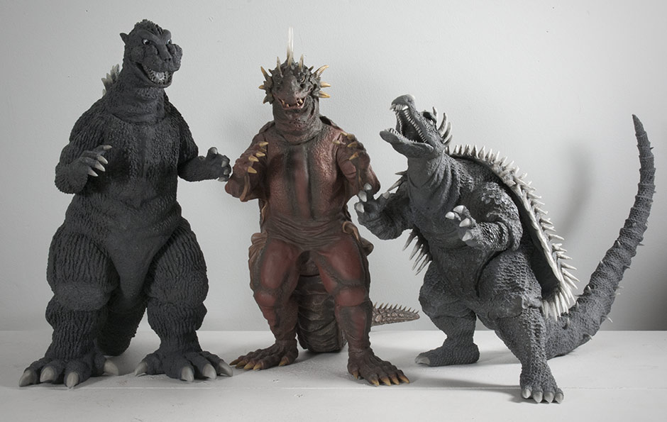 X-Plus Varan with Godzilla 1954 and Anguirus 1955 Vinyl Figures.