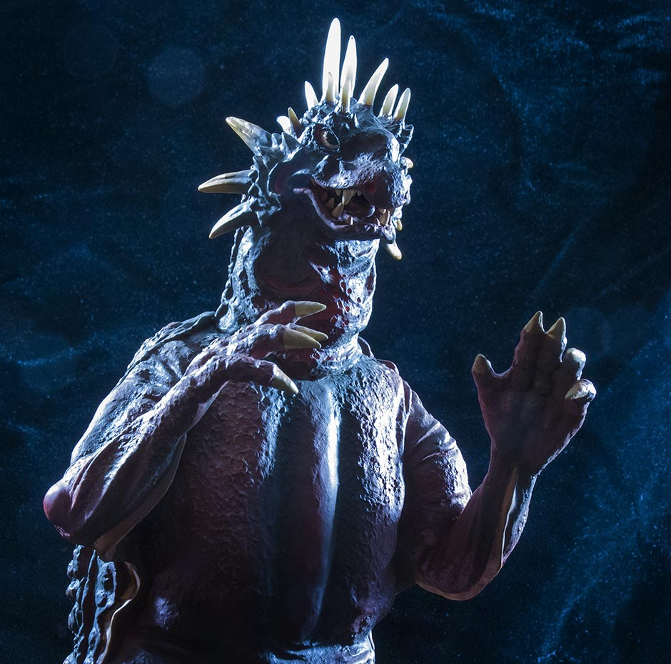 Stylized photos of the X-Plus Varan Vinyl Figure.