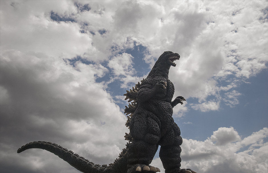 X-Plus Godzilla 1989 against the clouds.