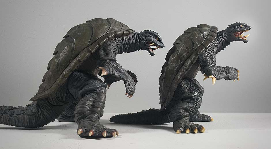 X-Plus Large Monster Series Gamera 1996 Side Size Comparison with 30cm Version.