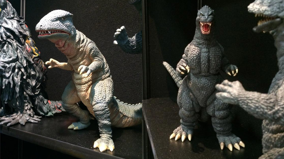 The X-Plus Godzilla 1989 and Gorosaurus vinyl figures on display at Diamond's booth at SDCC.