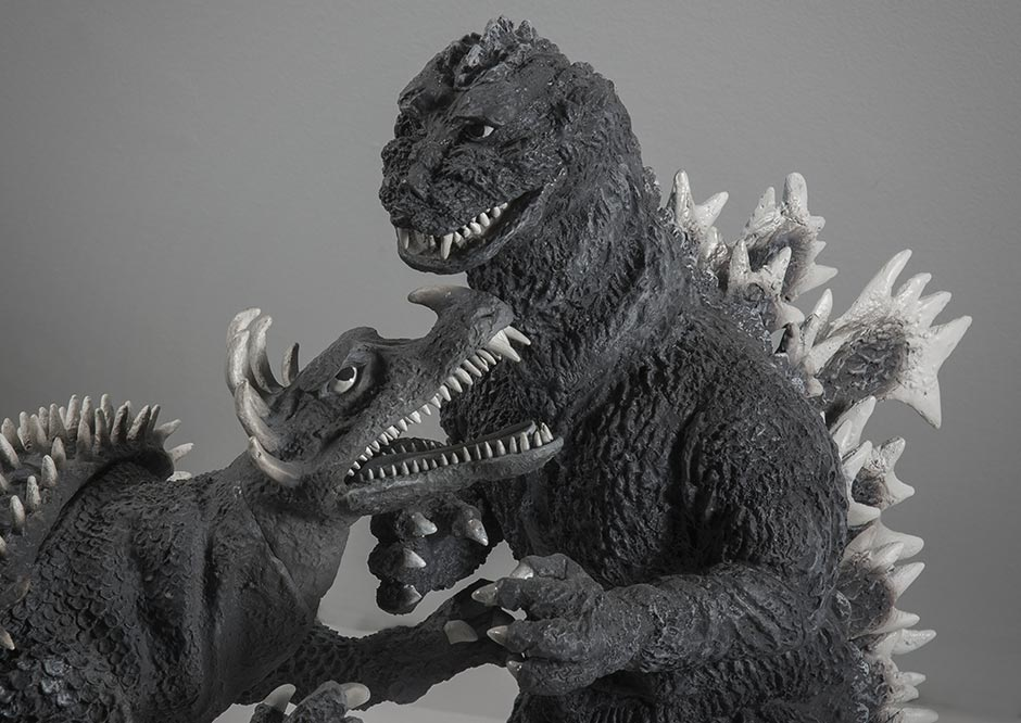 Close-up of the X-Plus 30cm Series Anguirus and Godzilla 1955.