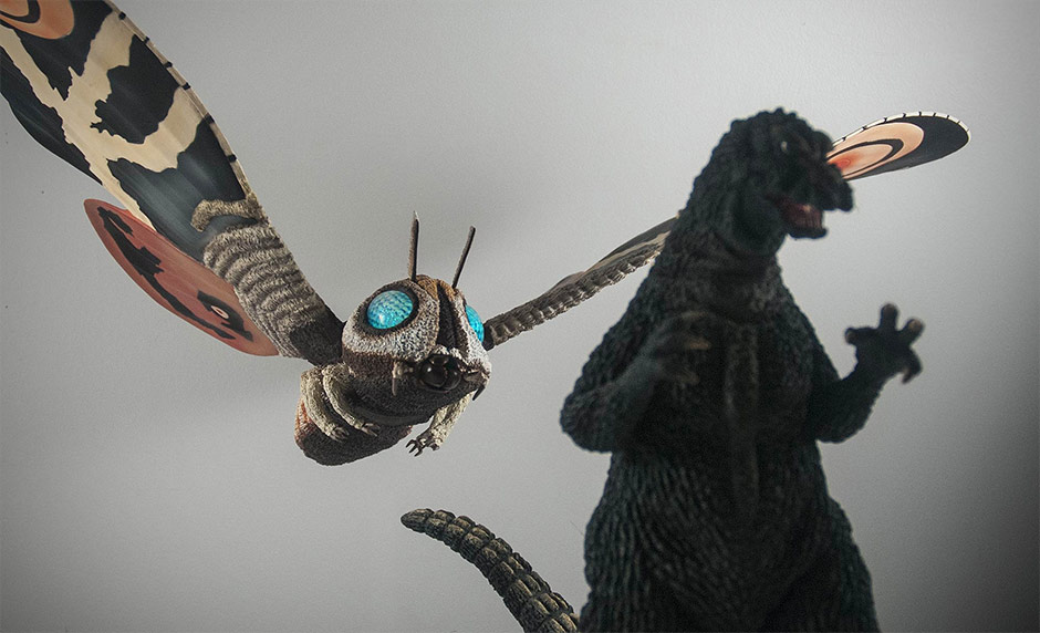 X-Plus Large Monster Series Mothra Imago 1961 and Godzilla 1964 vinyl figures.