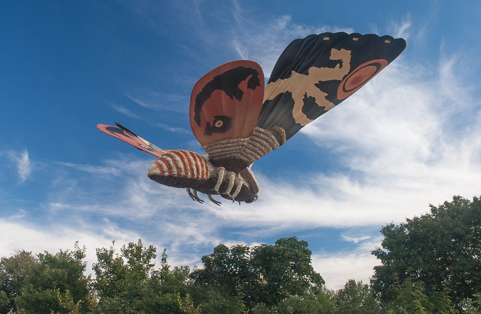Photoshopped view of the X-Plus Mothra flying.