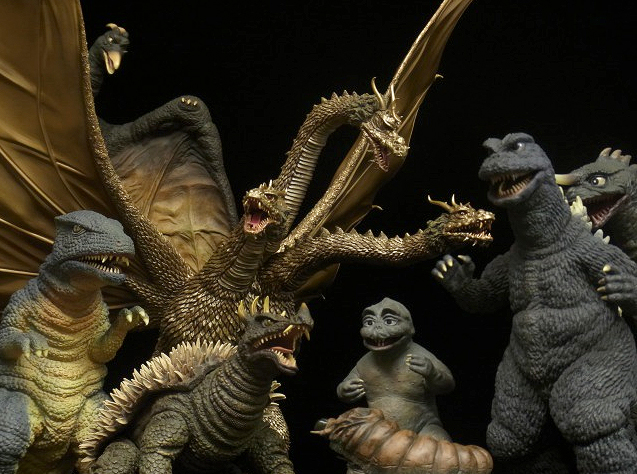 Collection of X-Plus figures from Destroy All Monsters.