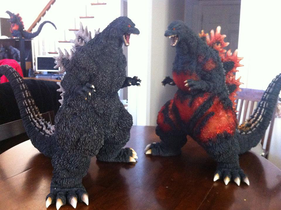 X-Plus Gigantic Series Godzilla 1995 re-paint by Mark Callaway. Beside original.