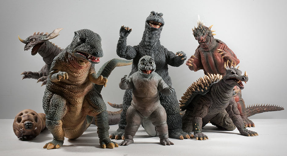 X-Plus 30cm Gorosaurus with other Destroy All Monsters alum.