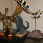 25cm Godzilla 1964 vinyl figure with King Ghidorah and Mothra Imago 1961 by X-Plus. Photo by Joshua Chambers.