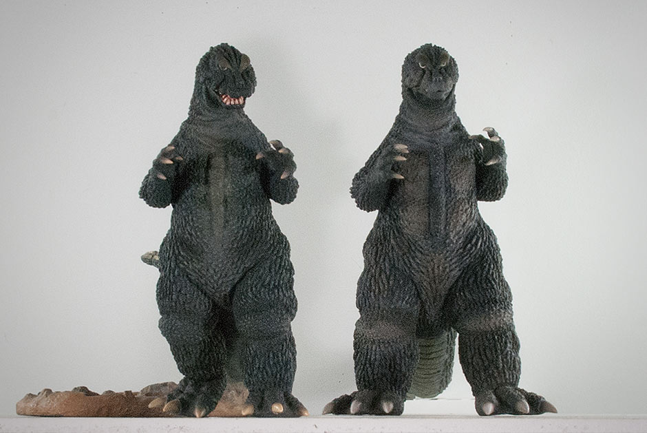Sculpt comparison between the Large Monster Series and the 30cm Series Godzilla 64.