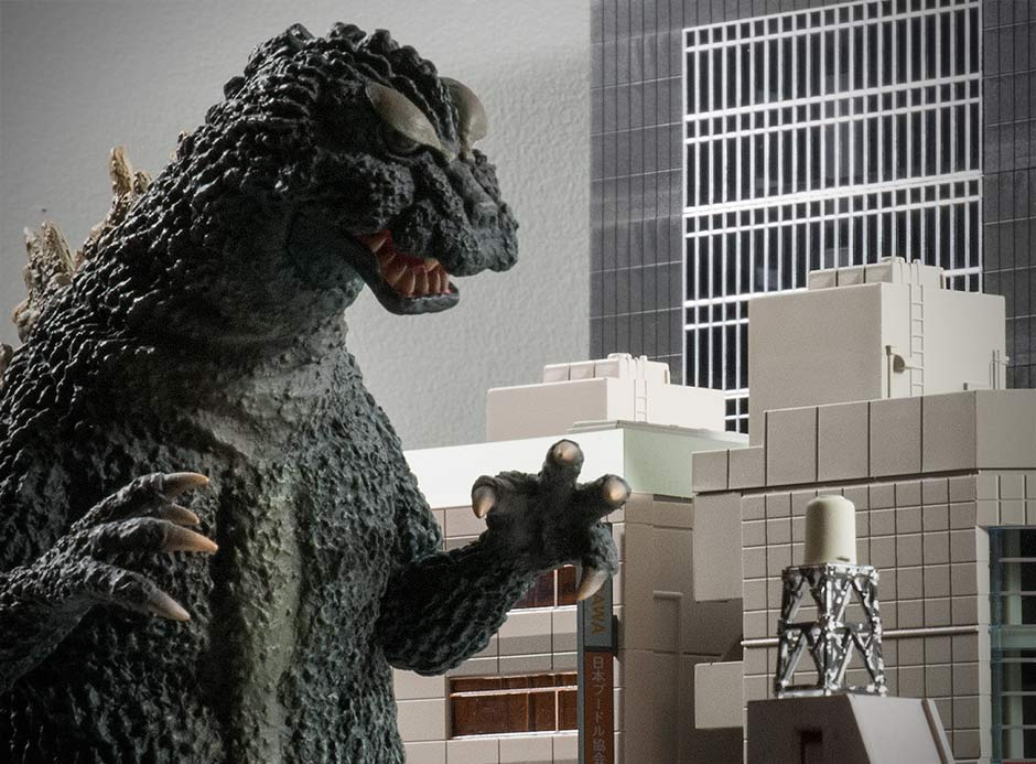 X-Plus 25cm Godzilla 1964 with n-scale buildings.