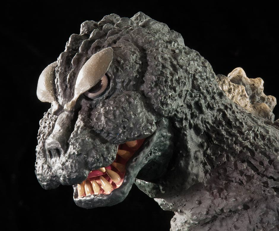 Close-up of the Large Monster Series Godzilla 1964 head.