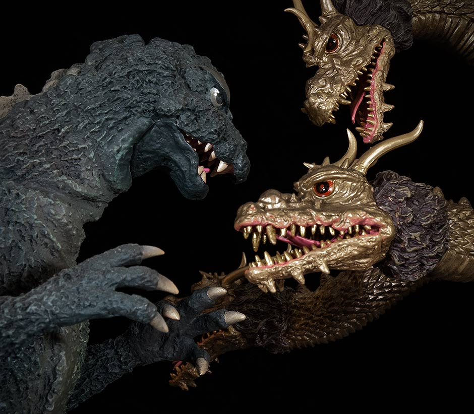 Close-up of X-Plus Godzilla 1964 and King Ghidorah 1968.