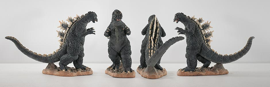 All angles of the X-Plus 25cm Godzilla 1964 vinyl figure.