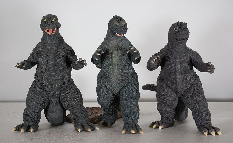 Size comparison between X-Plus Godzilla 1964 without base and the '66 and '68.